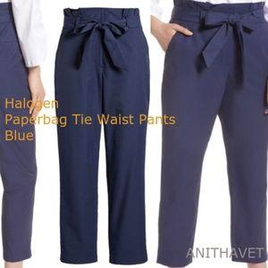 HALOGEN Paperbag Tie Waist Pants Blue